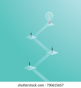 Business creativity vector concept with lightbulb. Creative teamwork process with steps. Eps10 vector illustration.