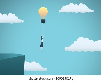 Business creativity vector concept with business woman flying off a cliff with lightbulb. Symbol of innovation, invention, solution, breakthrough, ambition, motivation. eps10 vector illustration.