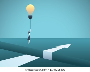 Business creativity vector concept with business woman flying over gap with lightbulb. Symbol of innovation, invention, solution, breakthrough, ambition, motivation. Eps10 vector illustration.