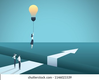 Business creativity vector concept with woman flying with lightbulb. Symbol of creative solution, breakthrough, innovation, challenge. Eps10 vector illustration.