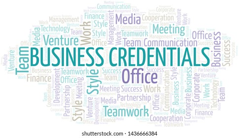 Business Credentials word cloud. Collage made with text only.