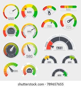 Business credit score vector speedometers. Customer satisfaction indicators with poor and good levels. Credit score poor and good rating illustration