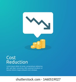 business crisis concept. money fall down with arrow decrease symbol. economy stretching rising drop, global lost bankrupt. cost declining reduction or loss of income with stack pile dollar coins.
