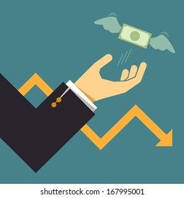 Business crisis graph with dollar bill flying away from hand, Business idea