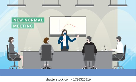 Business crisis loss profit. People meeting presentation after pandemic covid-19 corona virus. New normal is wearing mask in office workplace conference room. Flat design style vector concept.