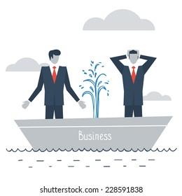 Business crisis, work problems, bad management, start up failure, vector illustration