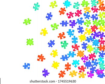 Business crux jigsaw puzzle rainbow colors parts vector illustration. Scatter of puzzle pieces isolated on white. Success abstract concept. Jigsaw gradient plugins.