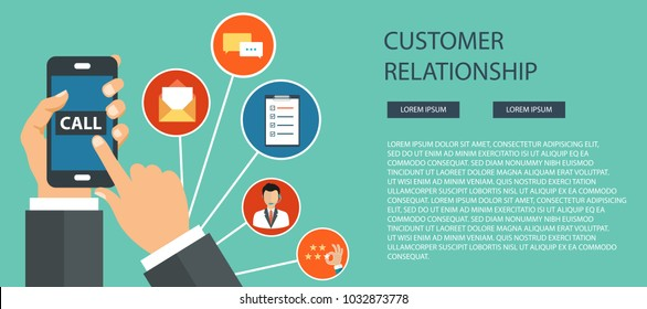 Business customer care service concept. Icons set of contact us, support, help, phone call and website click. Man sitting on the floor and holding lap top with telephone by his side. Flat vector