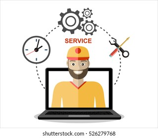 Business customer care service concept flat icons set of contact us support help desk phone call and website click for service and maintenance.