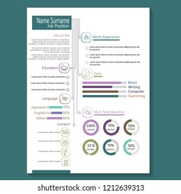 business cv resume template with infographic vector