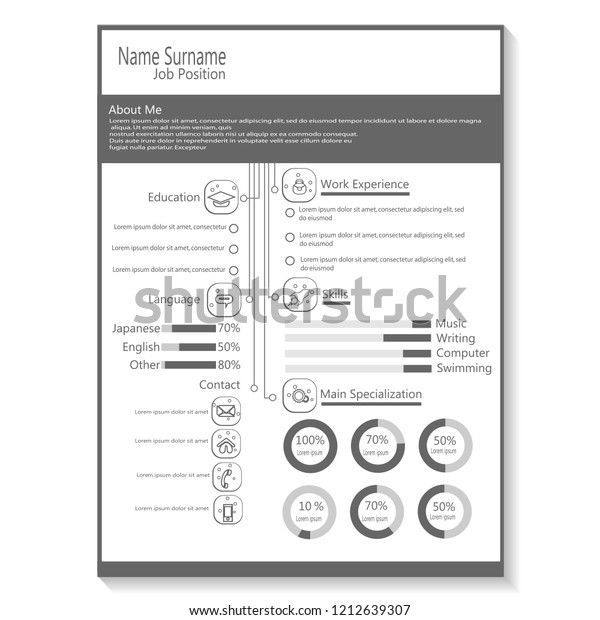 Business Cv Resume Template Infographic Vector Stock Vector ...
