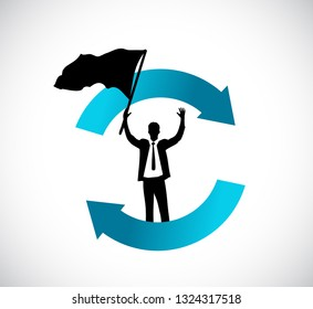 business cycle and avatar with flag. illustration design isolated over a white background.