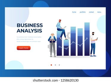 Business and data analysis concept with characters. Can use for web banner, infographics, hero images. Flat isometric vector illustration isolated on white background.