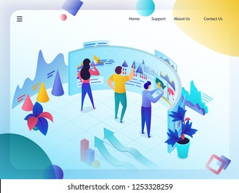 Business Data Analysis Isometric Vector Web Banner or Landing Page. Experts Analyzing Profitable Graphs, Sale Statistics or Company Growth Infographics. Digital Marketing Services Technologies Concept