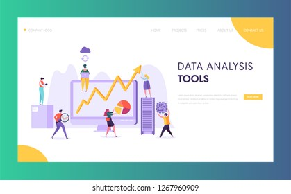 Business Data Analysis Software Landing Page. Marketing Strategy Development for Market Analyzing by Creative Character. Neural Network Concept for Website or Web Page. Flat Vector Illustration