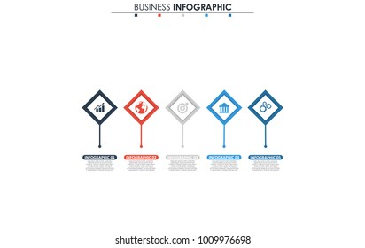 Business data, chart. Abstract elements of graph, diagram with 5 steps, strategy, options, parts or processes. Vector business template for presentation. Creative concept for infographic.
