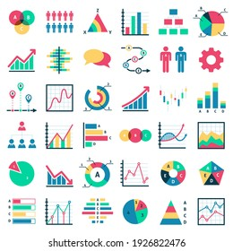 Business data charts. Financial marketing colorful diagrams, graphical schemes analytic report, statistical graphs, info presentation collection. structure progress and process vector isolated set