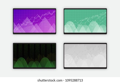 Business data graph charts and diagram on black tablet screen, vector illustration. Trend lines, waves, market economy information set of four screens isolated on white background.