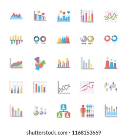 Business Data Graph and Charts Flat Icons