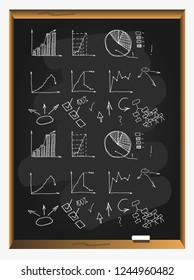 Business Data Graph and Charts on blackboard background. chart infograp. hic doodle drawing. hand drawn vector illustration.
