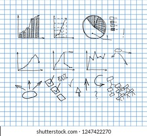 Business Data Graph and Charts on copybook background. chart infograp. hic doodle drawing. hand drawn vector illustration.
