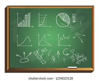 Business Data Graph and Charts on chalkboard. chart infograp. hic doodle drawing. hand drawn vector illustration.
