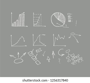 Business Data Graph and Charts on grey background. chart infograp. hic doodle drawing. hand drawn vector illustration.