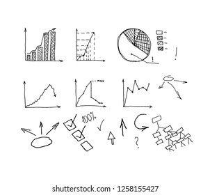 Business Data Graph and Charts on white background. chart infograp. hic doodle drawing. hand drawn vector illustration.