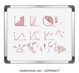 Business Data Graph and Charts on flip chart background. chart infograp. hic doodle drawing. hand drawn vector illustration.