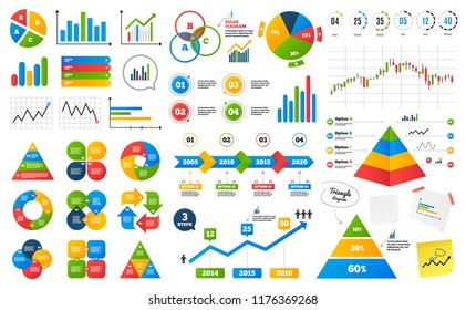 Business data graphs. Financial and marketing chart. Timeline infographics. Presentation slide elements. Pyramid data chart. Infographics with 4 steps. Creative business data visualization. Vector