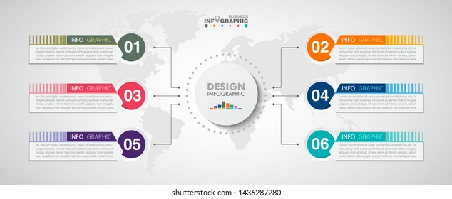 business data Infographics elements visualization, Abstract elements of graph, Process chart  6-steps concept. can be used web design or presentation,  illustration vector background