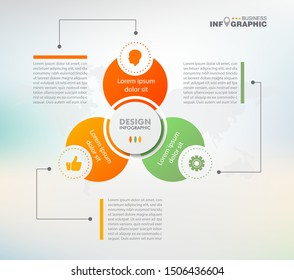 business data Infographics elements visualization, Abstract elements of graph, Process chart  3-steps concept. can be used web design or presentation,  illustration vector background