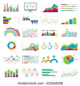 Business data market elements bar pie charts diagrams and graphs flat icons in vector illustration.