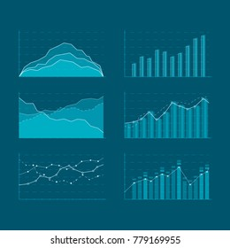 Business data market elements. Template diagrams and graphs flat icons set. Elements for HUD concept. Vector illustration isolated on a blue background