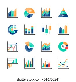 Business data market infographic elements icons set with variety of bar, pie, area charts. Vector illustration.