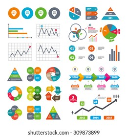 Business data pie charts graphs. Sale pointer tag icons. Discount special offer symbols. 50%, 60%, 70% and 80% percent off signs. Market report presentation. Vector