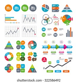 Business data pie charts graphs. Sale discount icons. Special offer price signs. 10, 20, 25 and 30 percent off reduction symbols. Market report presentation. Vector