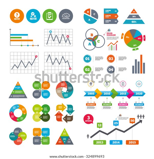 Business Data Pie Charts Graphs Quiz Stock Vector (Royalty