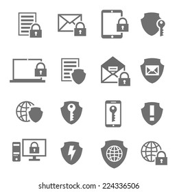Business data protection technology and cloud network security icons set black vector