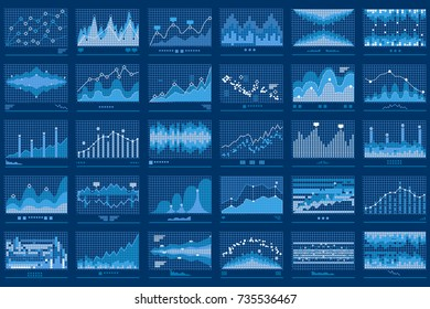 Business data report financial charts. Stock exchange analysis graphics. Growth market trend line vector graphs illustration. Concept of finance information with charts and diagrams.