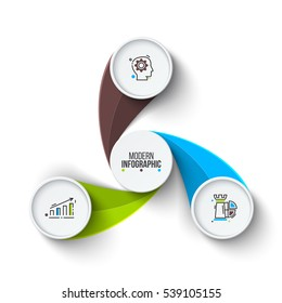 Business data visualization. Abstract elements of cycle diagram with 3 steps, options, parts or processes. Vector business template for presentation. Creative concept for infographic. Process chart.