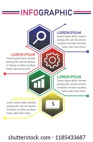 Business data visualization. Four steps workflow. Process chart. Vector business template for presentation. Creative concept for infographic. A4 paper size