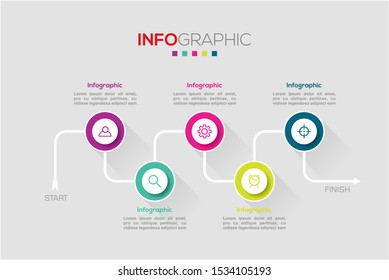 Business data visualization. Infographic element with icons and options or steps. Can be used for process, presentation, diagram, workflow layout, info graph, web design. Vector business template.