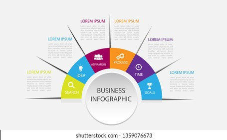 Business data visualization. infographic with icons and 6 options or steps. element modern diagram process technology digital marketing data presentation chart Vector