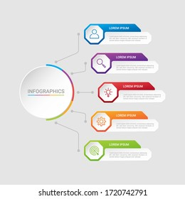 Business data visualization, infographic template with 5 steps on gray background, vector illustration