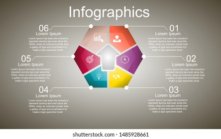 Business data visualization, infographics. Scheme of the process of elements with the help of graphics, diagrams hexagon is divided into six steps, numbers, icons, variants, with text.
