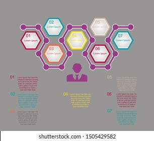 Business data visualization, infographics. Scheme of the process of elements with the help of graphics, diagrams in seven steps, with the text below, numbers, variants, parts.