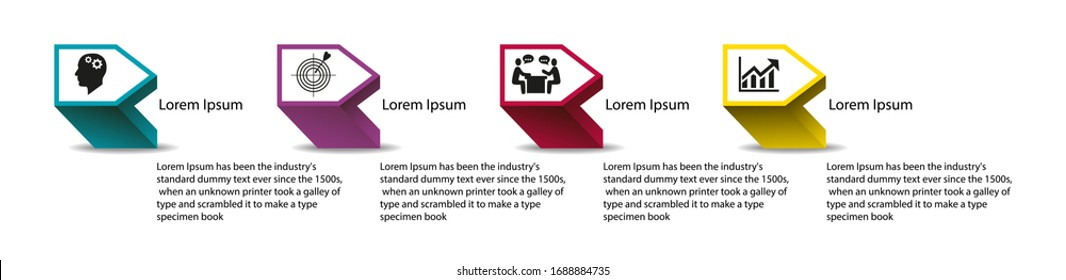 Business data visualization, infographics. Scheme of the process of elements with the help of graphics, diagrams in four stages, numbers, variants, parts. Business vector for presentation.
