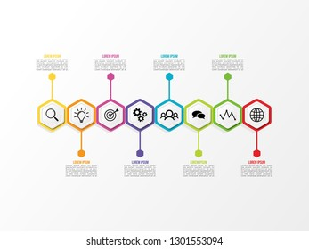 Business Data Visualization Infographics Template. Vector Illustration. Process chart, Abstract Elements of graph, diagram with steps, options, parts or processes. Timeline with Marketing Icons