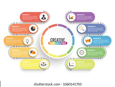 Business data visualization. Process chart. Abstract elements of graph, diagram with 10 steps, options, parts or processes. Vector business template for presentation. Creative concept for infographic.